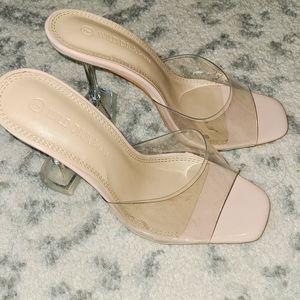 Wild diva PVC clear block mule heels nude